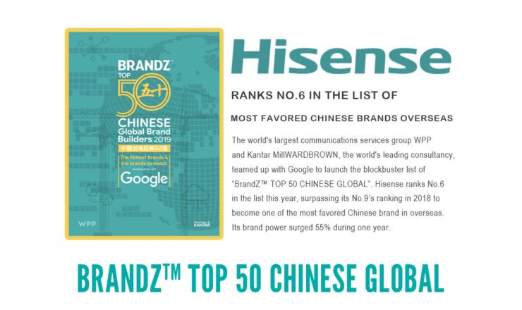 Hisense reconocida como una de las mejores marcas por BrandZ Top 10 Chinese Global Brand Builders