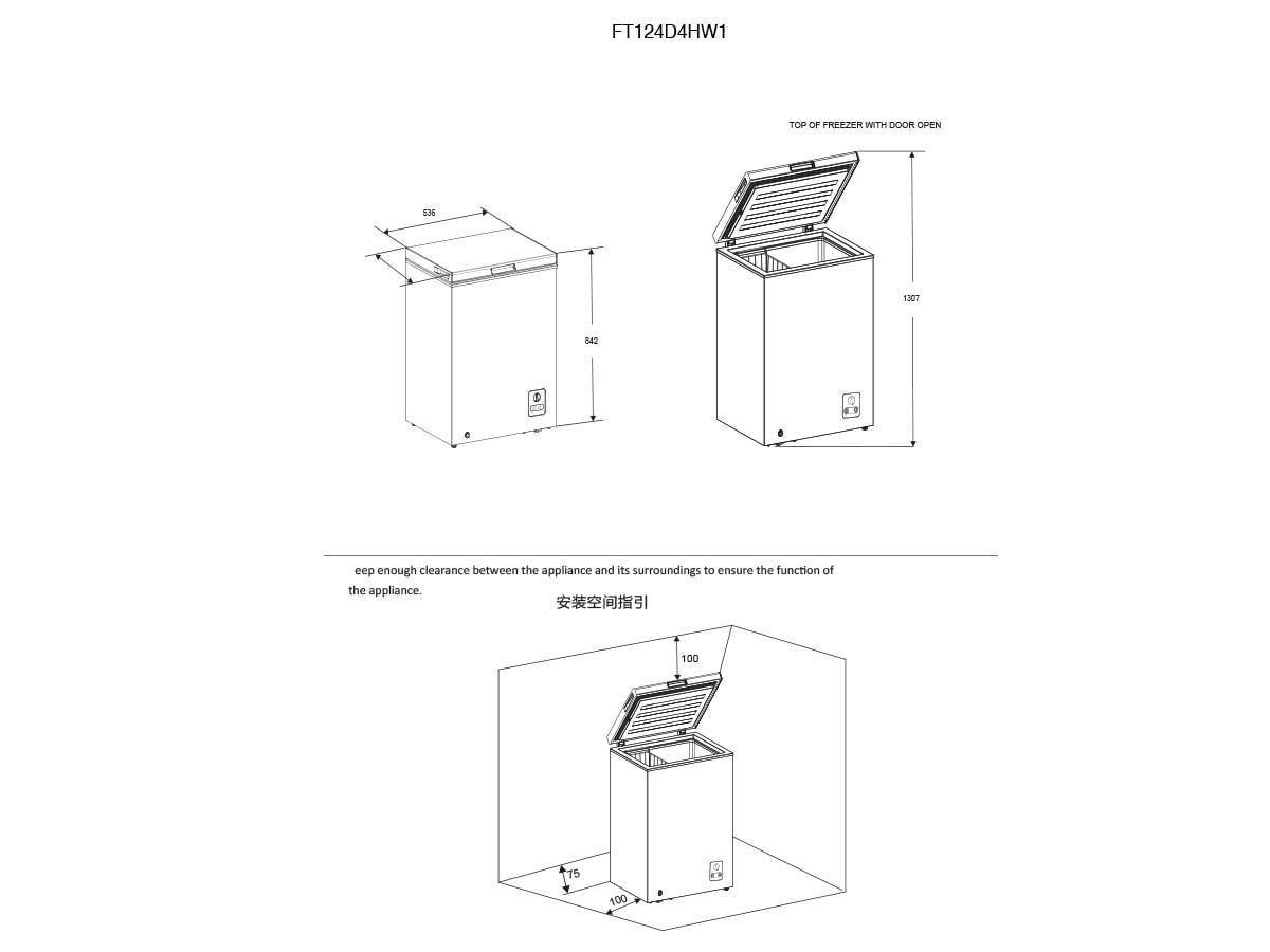 Horizontal Arcón congelador FT124D4HW1 A+
