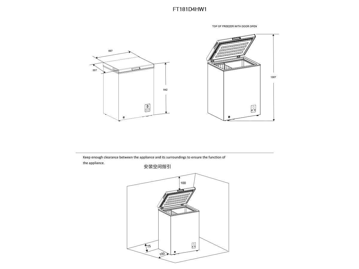 Horizontal Arcón congelador FT181D4HW1 A+