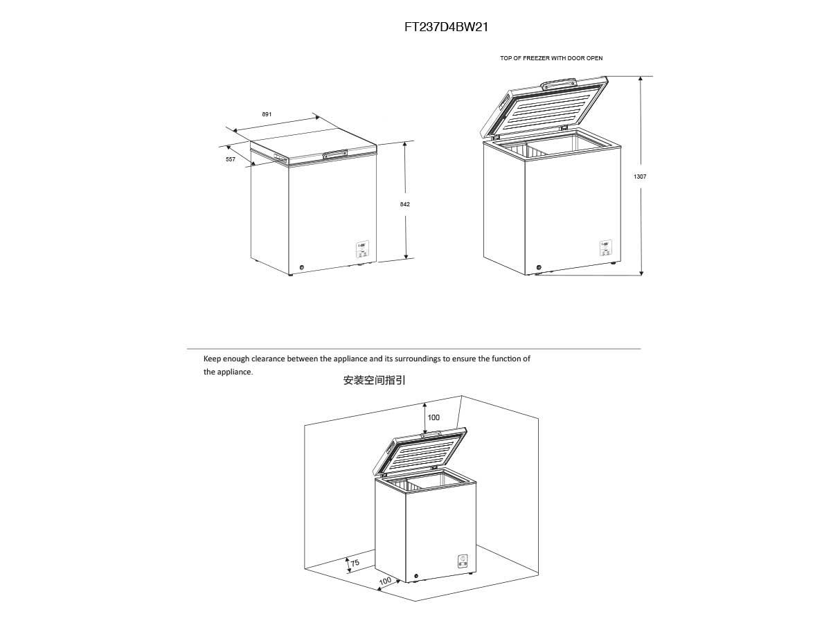 Horizontal Arcón congelador FT237D4BW21 A++